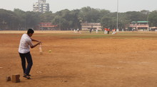 Mumbai, Maharastra/India- January 13 2020: A Batsman Playing Game Of Cricket. Children Enjoying Various Sports On The Playground.