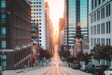Downtown San Francisco with California Street at sunrise, San Francisco, California, USA