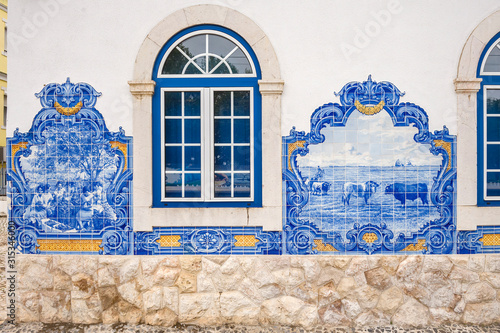 Panel of Azulejos tiles in Vila Franca de Xira station, Portugal Canvas Print
