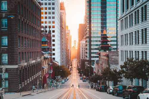 Downtown San Francisco with California Street at sunrise, San Francisco, Califor Wallpaper Mural