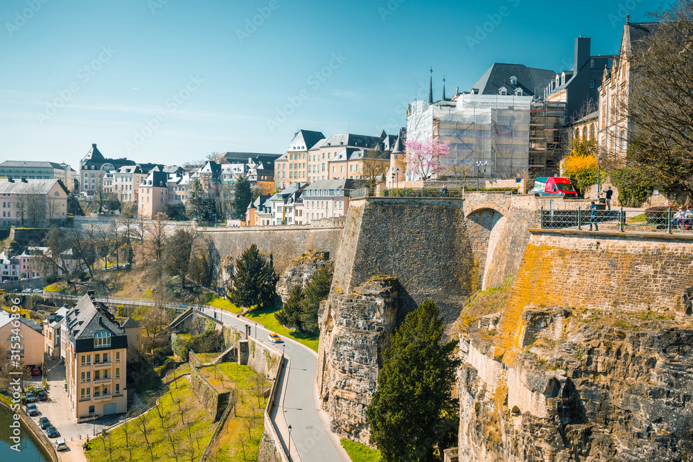 Fototapeta Old town of Luxembourg City with Alzette river in summer, Luxembourg
