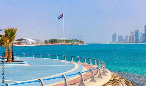 Fotografie, Obraz Skyline view of Abu Dhabi panorama with sea, beach and skyscrapers