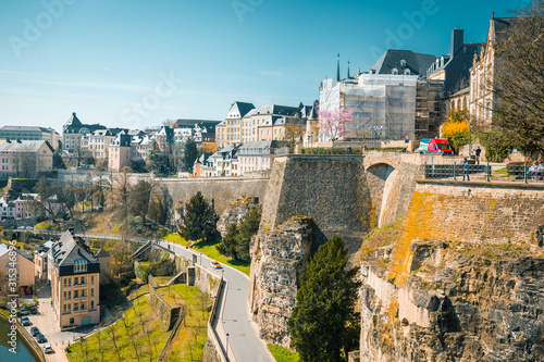 Obraz Old town of Luxembourg City with Alzette river in summer, Luxembourg - fototapety do salonu