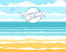 Tranquil Seashore Beach Ocean Or Sea, Summer Holidays And Vacations Theme Vector Illustration, Can Be Used As A Background For Card Or Banner To Add Text.