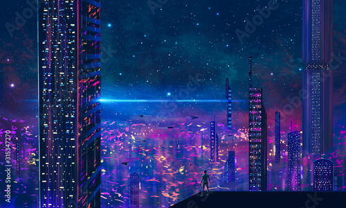 Man standing on roof and look to abstract modern sci-fi colorful city with night sky and stars. 3D illustration - 315347270