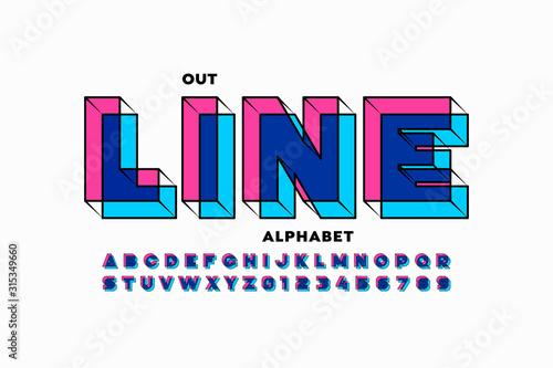 Fototapeta Outline style 3d font design, alphabet letters and numbers obraz