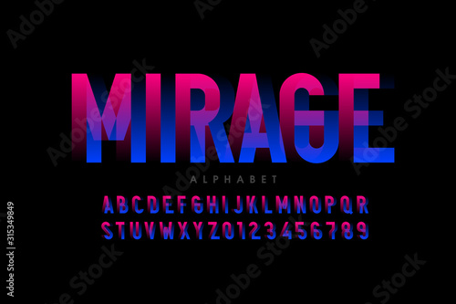 Photo Modern optical illusion style font design, alphabet letters and numbers