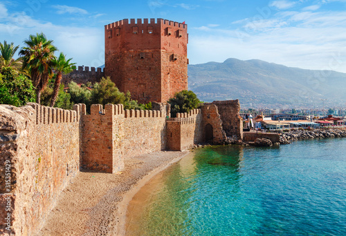 Kizil Kule tower in Alanya peninsula. Antalya - Turkey Wallpaper Mural