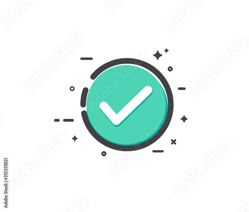Check mark icon. Vector illustration. on white background Canvas Print