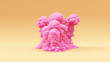 canvas print picture - Pink Explosion Large Grouped Warm Cream Background 3d illustration 3d render