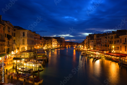 Cuadros en Lienzo night view of Grand canal  in Venice, Italy.