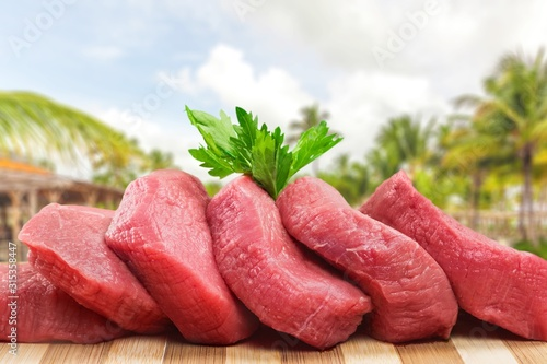 Fototapeta Freshness Meat collection on bokeh background obraz
