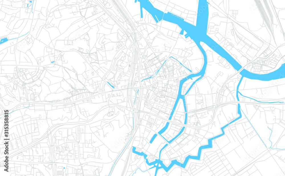 Mapa jasny wektor Gdańsk, Polska