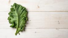 Fresh Green Kale Leaf On White...