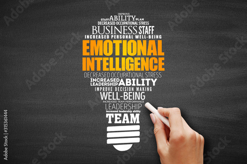 Valokuva Emotional intelligence light bulb word cloud, business concept background