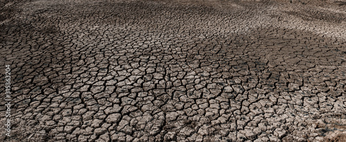 Cracked and dry soil in arid areas landscape, Drought crisis Wallpaper Mural