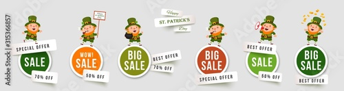 Obraz Saint Patricks Day sale isolated stickers with leprechauns. Set of paper cut vector banners with funny traditional characters. Collection of elements for holiday promotions and discounts - fototapety do salonu