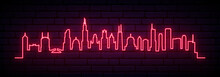 Red Neon Skyline Of Chicago Ci...
