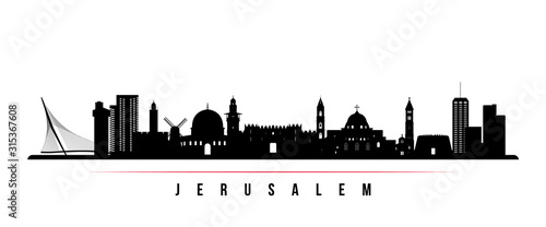 Jerusalem skyline horizontal banner. Black and white silhouette of Jerusalem, Israel. Vector template for your design.