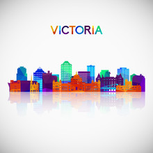 Victoria Skyline Silhouette In Colorful Geometric Style. Symbol For Your Design. Vector Illustration.