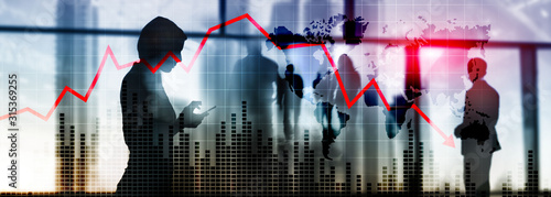 Cuadros en Lienzo  Chart with red down arrow on abstract background