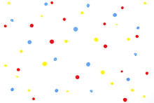 Red Blue Yellow Water Colour Random Drop Dots On White Drawing Paper With Paper Texture.