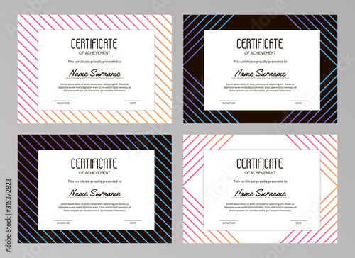 Fotografía  Collection of premium stylish certificates with gradient lines on the white and black backgrounds