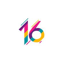 16 Years Anniversary Celebration Full Color Vector Template Design Illustration
