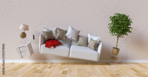 Obraz Flying sofa and furniture in weightlessness in the living room - fototapety do salonu