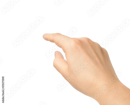 Leinwand Poster Hand touching finger on a white background