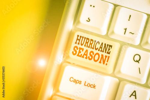 Photo Conceptual hand writing showing Hurricane Season