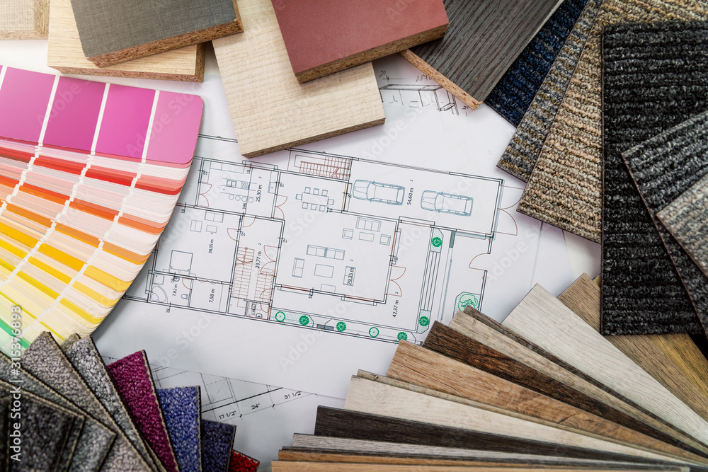 Fototapeta interior design materials and color samples with floor plan blueprint