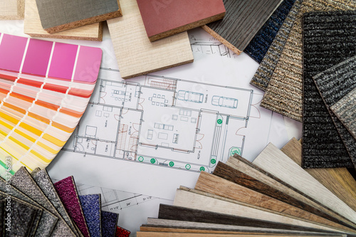 Obraz na plátne interior design materials and color samples with floor plan blueprint