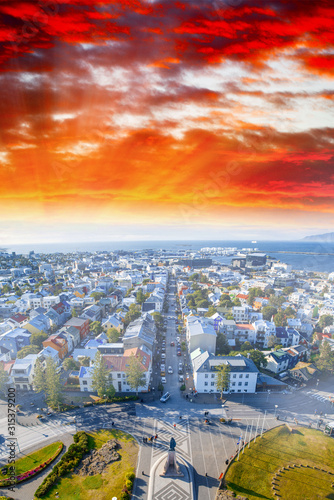 Valokuvatapetti City aerial view from Hallgrimskirkja in Reykjavik, Iceland
