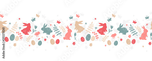 Cute hand drawn easter horizontal seamless pattern, colorful spring background with bunnies, easter eggs, flowers, butterflies - great for textiles, banners, wallpapers, cards - vector design