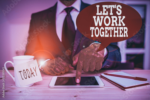 Handwriting text writing Let S Work Together Wallpaper Mural