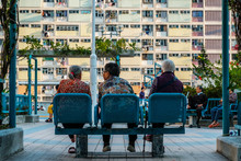 Three Older Women On Bench From Behind, Old People Sitting On Bench -
