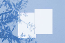 Blank White Vertical Paper Sheet 5x7 Inches With Shadow Overlay. Modern And Stylish Greeting Card Or Wedding Invitation Mock Up. Color Of The Year 2020 Classic Blue
