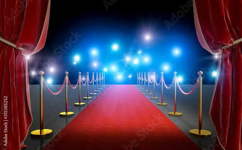 VIP entrance with red carpet and curtains Canvas-taulu