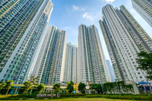 Huge Residential Building Complex, Green Court Betweern High-rise Apartment Buildings