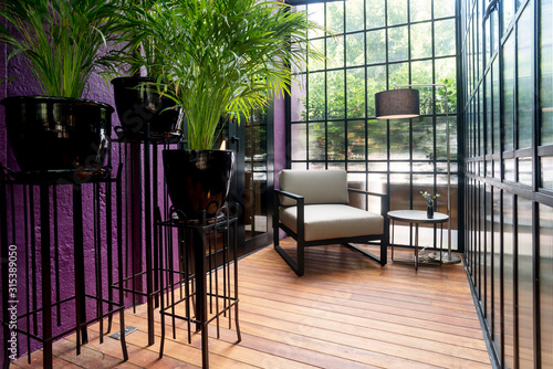 Canvas-taulu Modern sunroom with chic furnitures and some plants