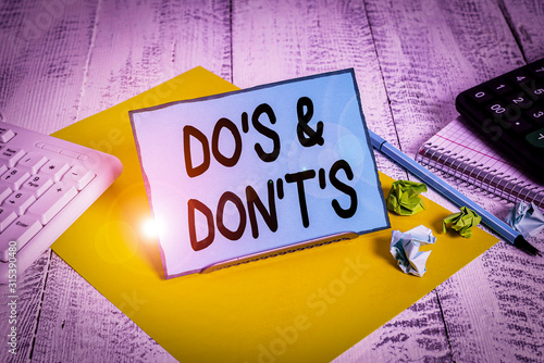 Photo Conceptual hand writing showing Do S And Don T S