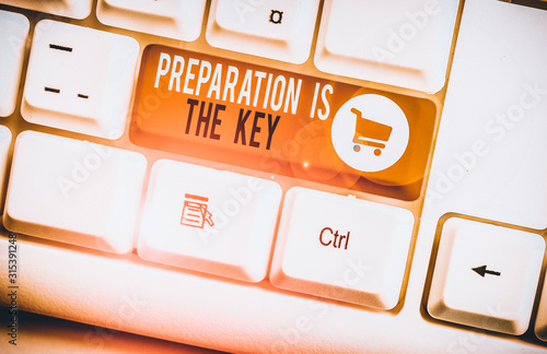 Word writing text Preparation Is The Key Canvas Print