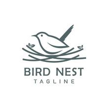 Bird Nest Logo Design Vector Icon Template