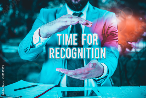 Conceptual hand writing showing Time For Recognition Wallpaper Mural