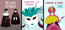Set Of Carnival Posters With P...