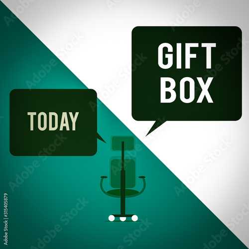 Text sign showing Gift Box Wallpaper Mural
