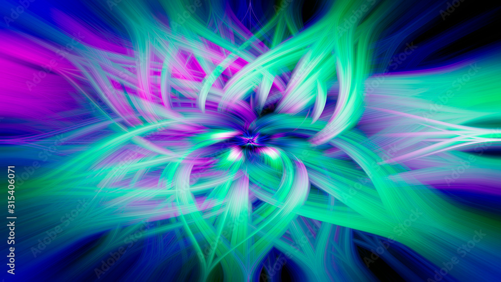 Fototapeta CGI abstract design in the shape of a flower from twisted light fibers. Vibrant glowing and colorful