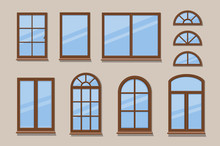 Windows Brown Various Frames Collection. Wooden Window Types In The Wall