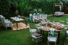 Wedding Set Up In Tropical Gar...